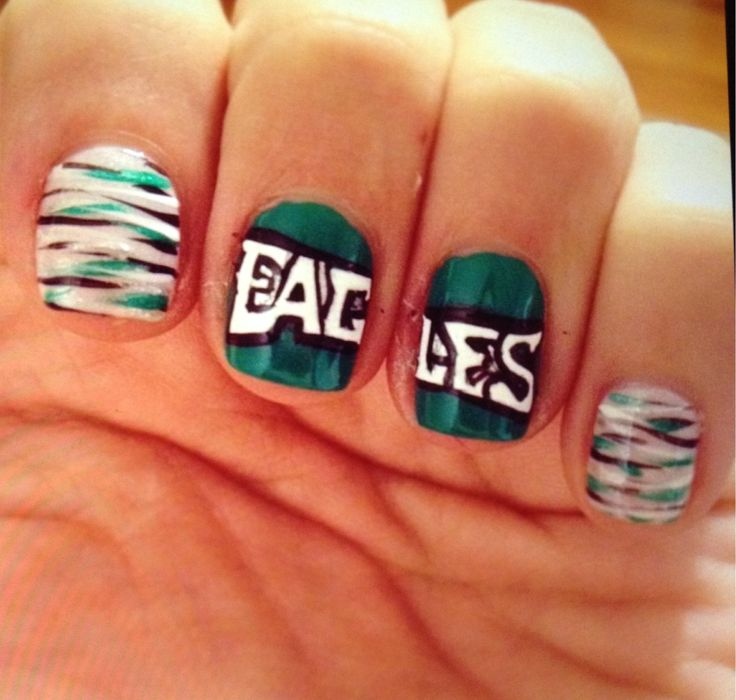 Eagles football green black white silver nails