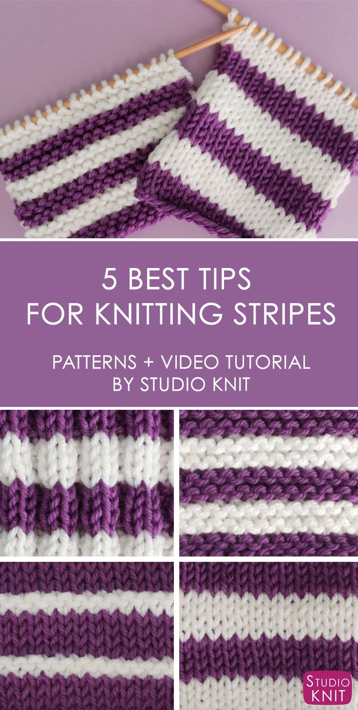 You are going to love these 5 Quick Tips for Knitting Stripes! Looking at the easiest ways to create horizontal stripes knitted flat on straight knitting needles with really simple knit and purl stitch patterns with Studio Knit. #studioknit #knitting #str