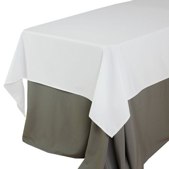 60 X 102 Inch White Rectangular Tablecloths, White Rectangle Table Overlays  | Wholesale Gray Table