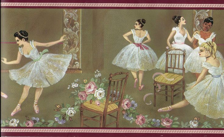 Pretty Ballerinas and Roses on Gold- 1 roll WALLPAPER BORDER