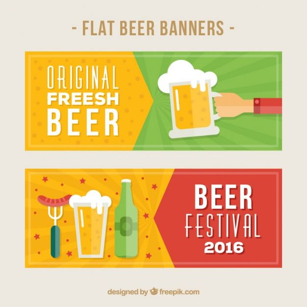Beer banners in flat style  Free Vector