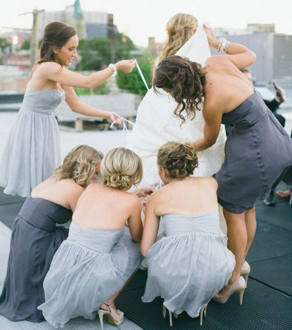 Bridemaids can be a lot at your wedding - for one, they can be your mini wedding planners!  Brittany- I like the concept for the dresses. some lighter some darker.