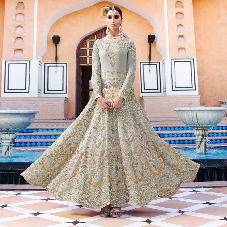 Buy Graceful Grey Designer Embroidered Georgette Anarkali Suit at Rs. 7020- Get latest Anarkalis for womens at Peachmode. ✓Genuine Products ✓ Easy Returns ✓ Best Pricing