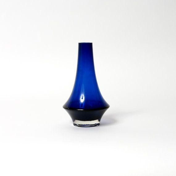 riihimaki glass vase blue erkki tapio siiroinen by northvintage, $125.00