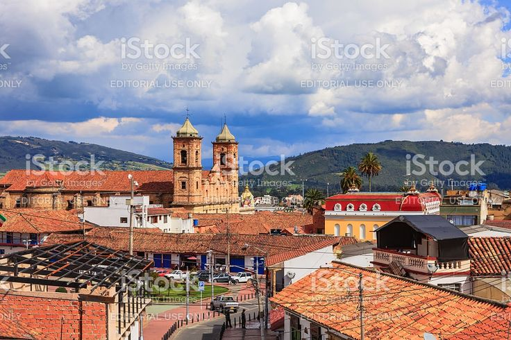 Colombia - Looking across Independence Square in Zipaquirá royalty-free stock photo