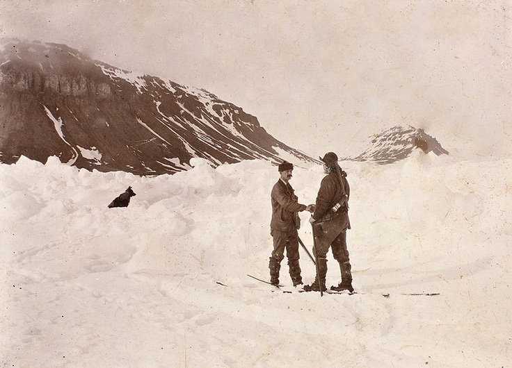 Posed photograph of the meeting between Fridtjof Nansen (right) and Frederick Jackson at Cape Flora, Franz Josef Land, 17 June 1896