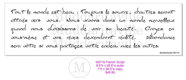 M0116 French Script Stencil