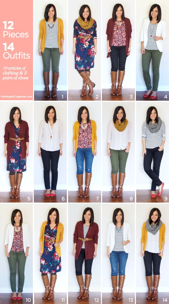 Thanksgiving packing help!  12 pieces made into 14+ outfits for a mix and match suitcase without overpacking.