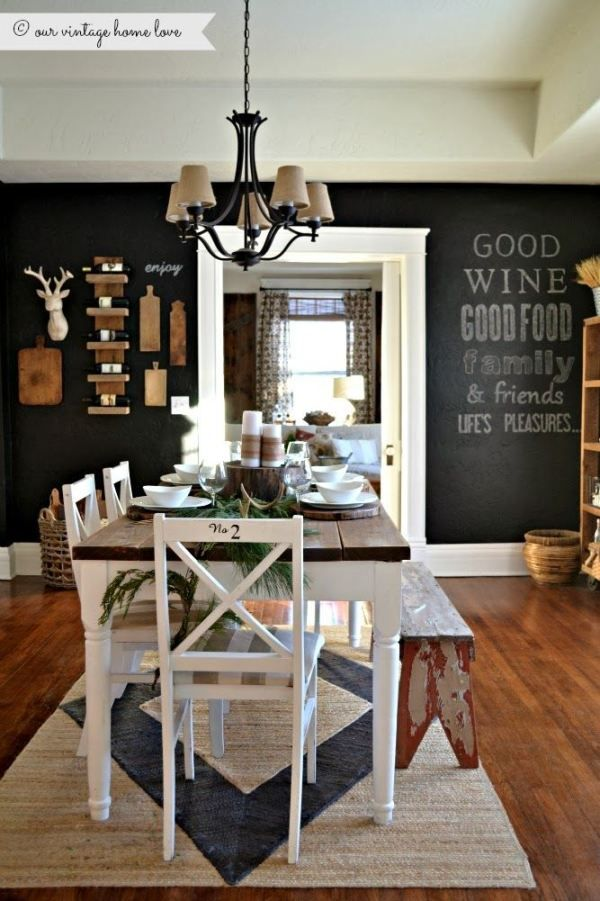 I love black walls in dining rooms!