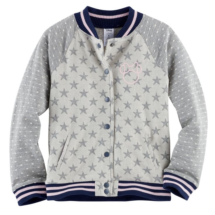 Disney's Minnie Mouse Toddler Girl Raglan Bomber Jacket by Jumping Beans®, Size: 3T, Light Grey