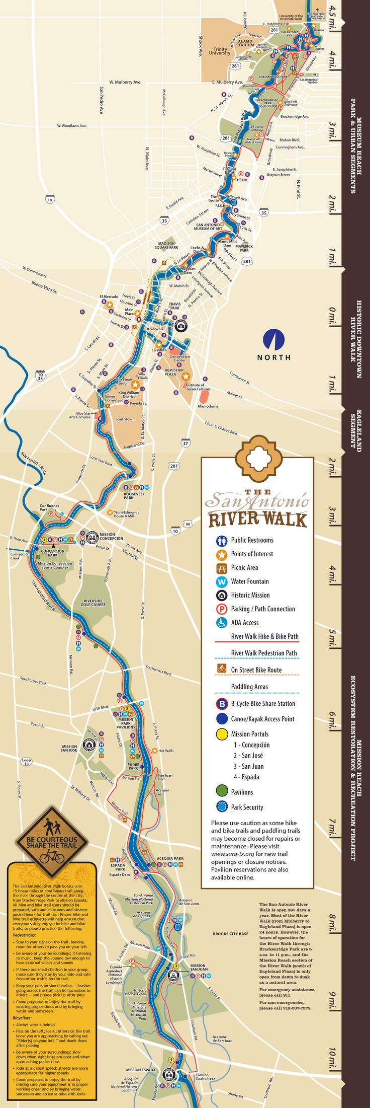 River Walk Map. San Antonio.