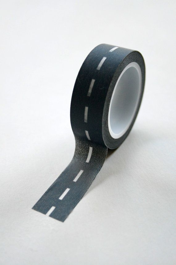 washi tape: charcoal divided highway road stitching, $4