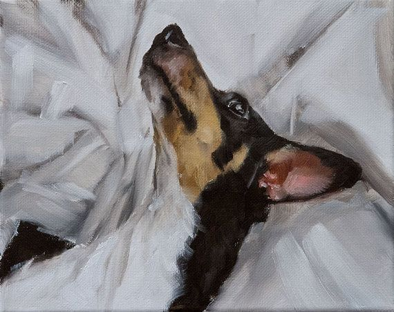 Elegant Black White and Rust Brown Tri Color Rat Terrier on by ClairHartmannFineArt