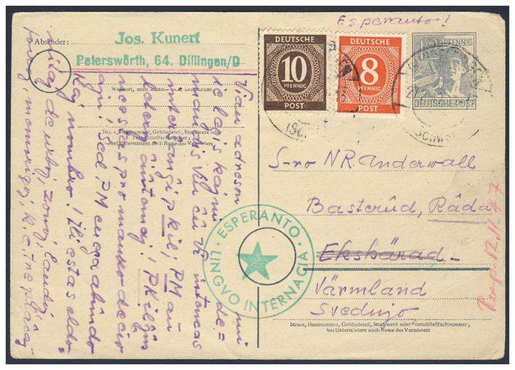 Germany, Joint Issue, Esperanto 27.10.1947, Alliierte Besetzung, Karte mit Kontrollrat-Frankatur, in Esperanto geschrieben, mit Esperanto-Absender-Stempel, von Dillingen nach Schweden. Price Estimate (8/2016): 20 EUR.