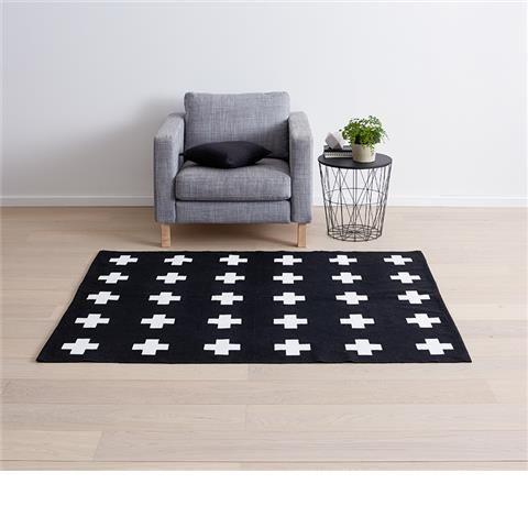 Cross Print Rug - Black & White   Kmart
