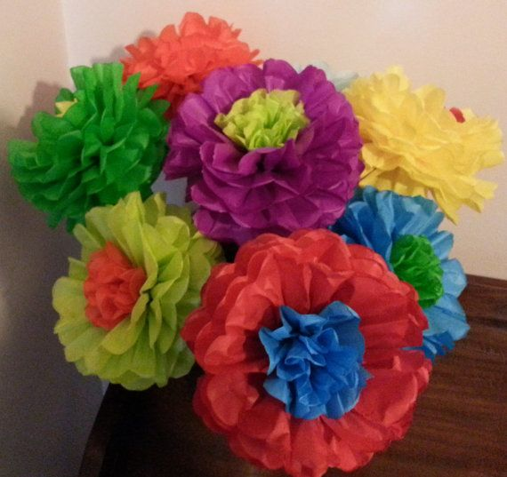 Fiesta Flowers Set of 8 Tissue paper flower by PomGarden on Etsy