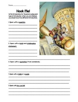 With this fun activity, students practice five different styles of writing introductions. This item includes three different picture prompts that support writing the introductions. It is a quick and easy way to encourage your students to write introductions that will hook their reader.