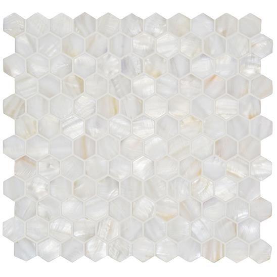 White Pearl Hexagon Shell Mosaic