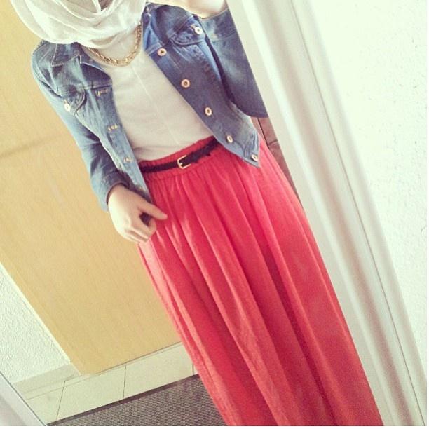 pink skirt + denim jacket