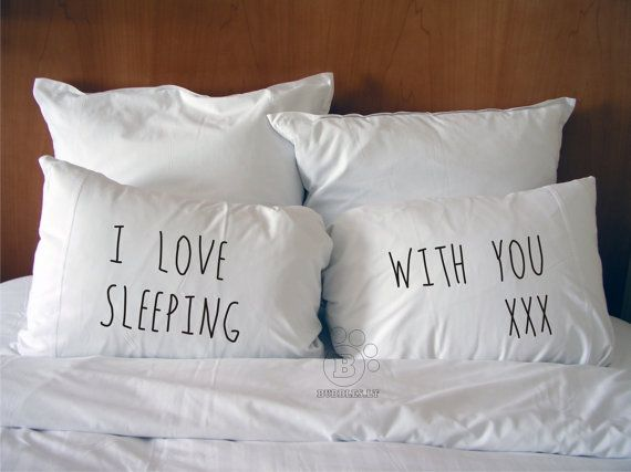 Handmade Printed Cotton Couple Pillow Covers - I Love Sleeping With You - Cotton Bedding - Perfect Wedding or Valentine's or Christmas Gift