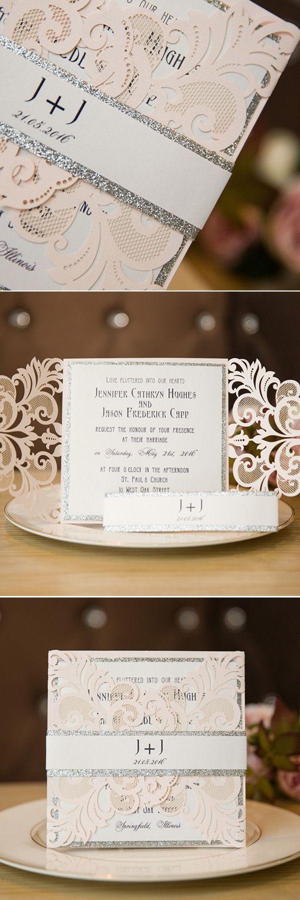 blush pink and silver laser cut wedding invitation cards swws004 #stylishweddinginvitations