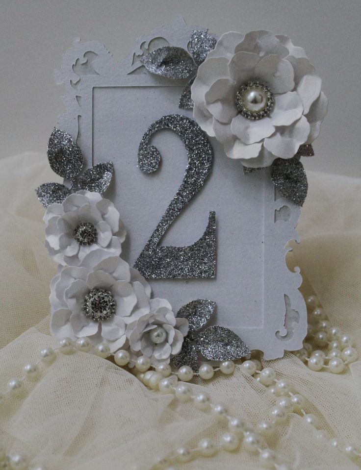 Silver and white table number, glitter table numbers, framed table number, place…