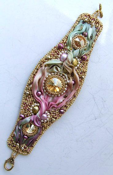 Bead Embroidered Shibori Silk Bracelet
