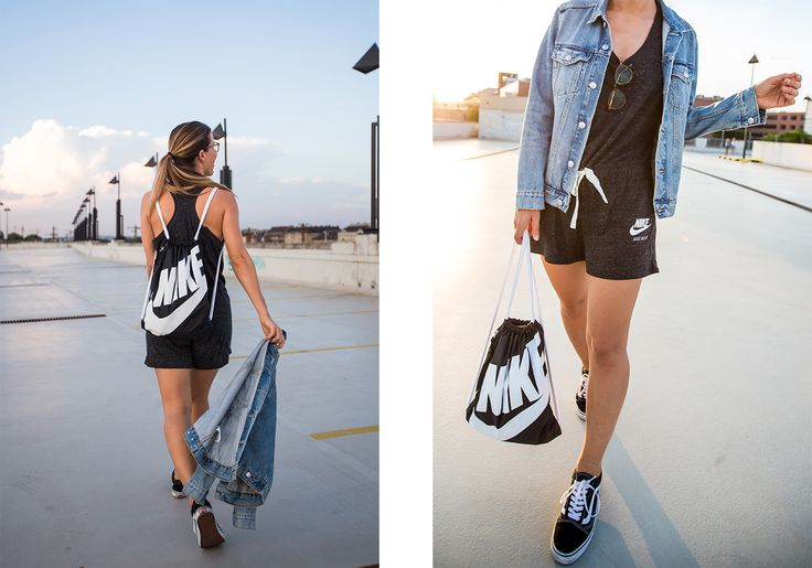 Playsuit: Nike | Sneakers: Vans | Gym Bag: Nike | Watch: Larsson & Jennings | Denim Jacket: H&M