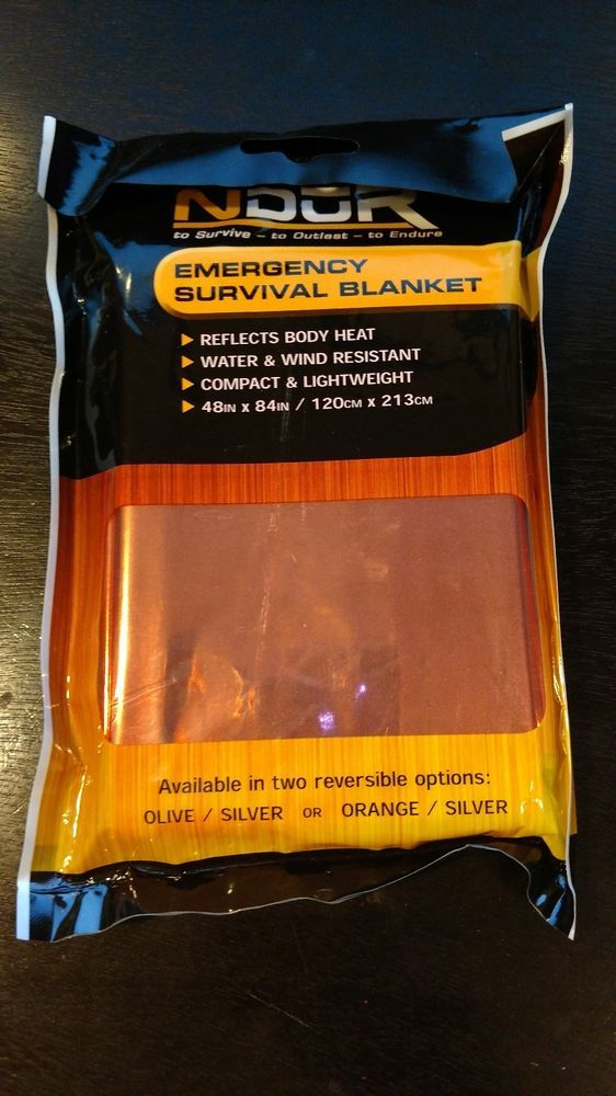 The NDuR Emergency Survival Blanket is made of strong insulating materials that reflects 90% of radiant body heat. Available in two reversible options, olive to silver or bright orange to silver. This large survival blanket provides emergency protection in all weathers and prevents and assists treatment of Hypothermia. | eBay!