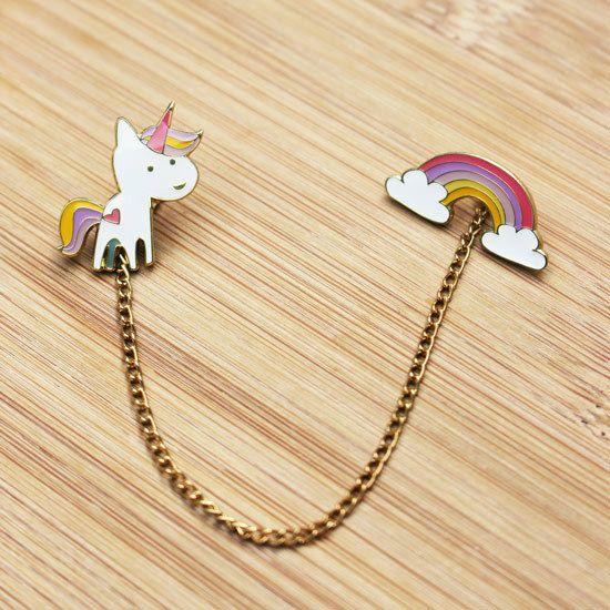 ANIMAL  Cute Unicorn  Rainbow Set of Two Enamel by HelloMissMay