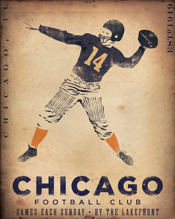 Chicago Football club original graphic art illustration on canvas 16 x 20 by stephen fowler. $155.00, via Etsy.