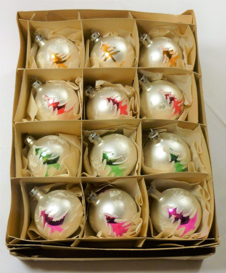 12 vintage 1960's mercury glass christmas tree #bauble #ornaments #handpainted cb,  View more on the LINK: http://www.zeppy.io/product/gb/2/192091367035/