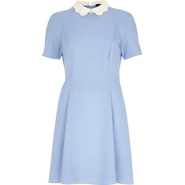 River Island Blue scalloped collar tea dress ($22) ❤ liked on Polyvore featuring dresses, blue, vestidos, sale, blue zipper dress, river island, river island dresses, zip dress and tea dress