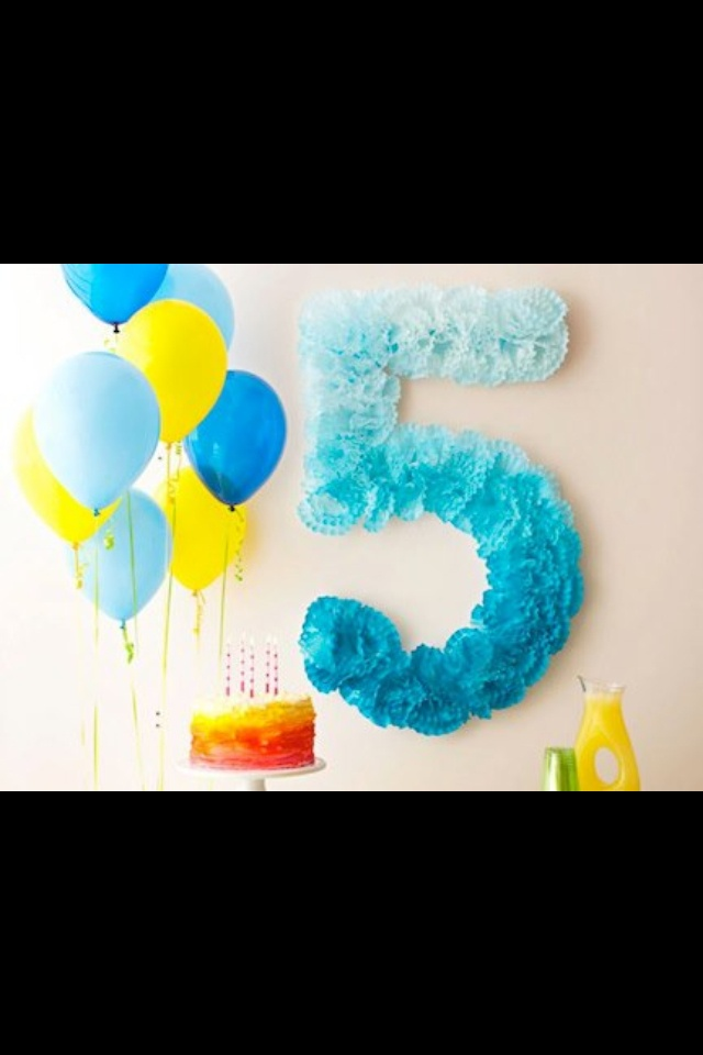 "Use coffee filters to make a wall number for your next birthday party, i did ""3"" and left it white with a pink and tulle ribbon bow holding on the door"