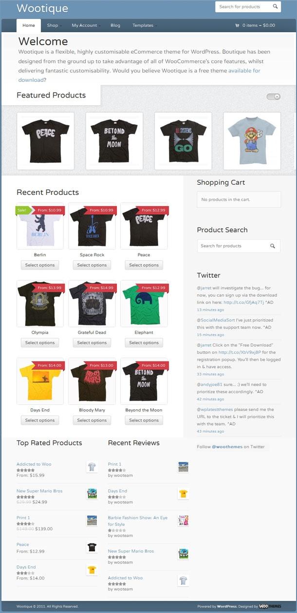 Free eCommerce WordPress theme WordPress theme from WooThemes