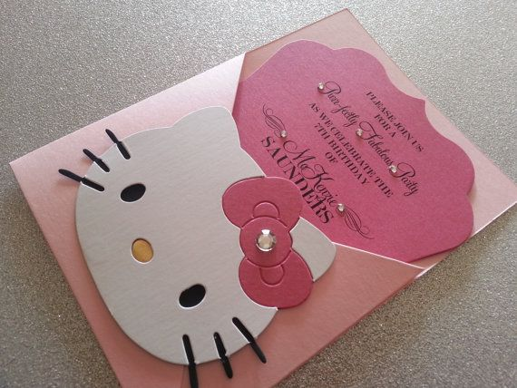 Hello Kitty Invitation Set of 20 by theinspirednote on Etsy, $60.00