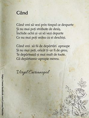 Poezii romanesti, poezii de suflet, poezii autori romani, Poezii de Virgil Carianopel