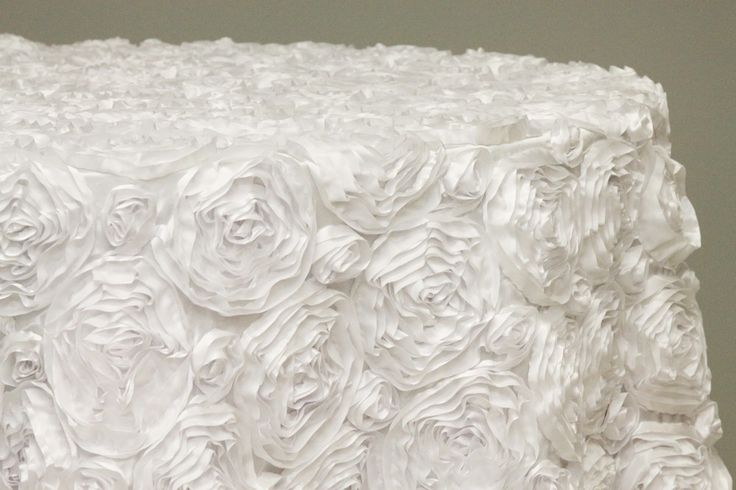 Rosette Tablecloth White 120 Inches Round Romantic