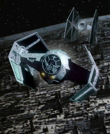 Darth Vader's TIE fighter, last seen hurtling into space after the Death Star blew up. Thankfully, Vader's AARP and AAA memberships got him a sweet deal on the tow truck ship.