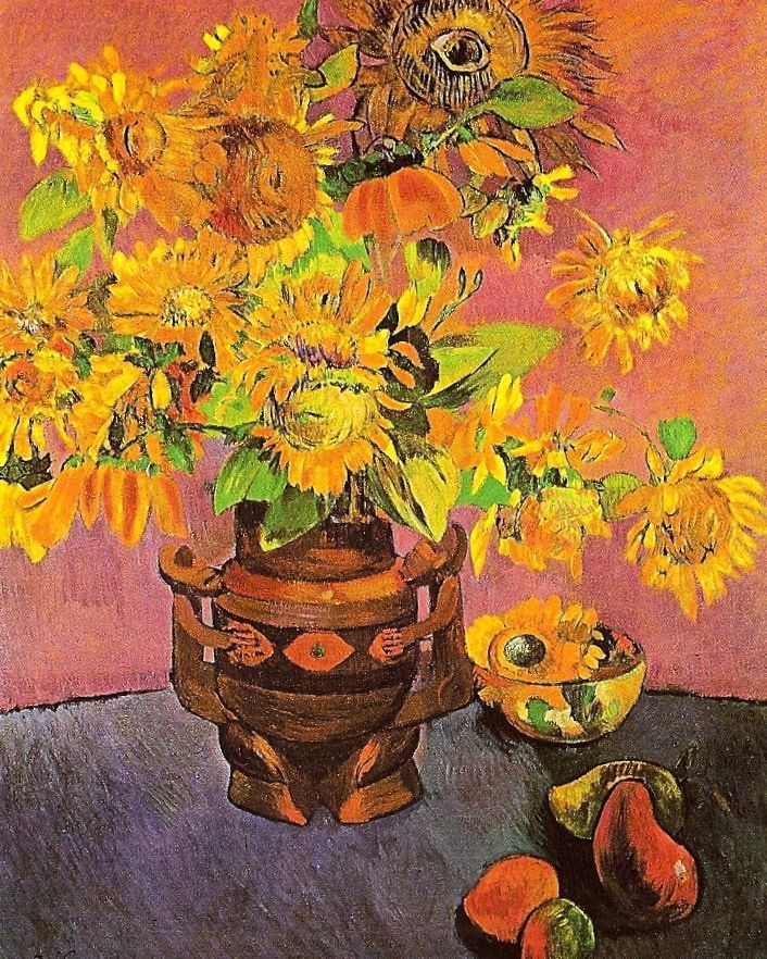 """Sunflowers and Mangoes, 1901. Paul Gauguin painted this years after Vincent's death but included the creepy """"eye"""" among the flowers at the top of the canvas."""