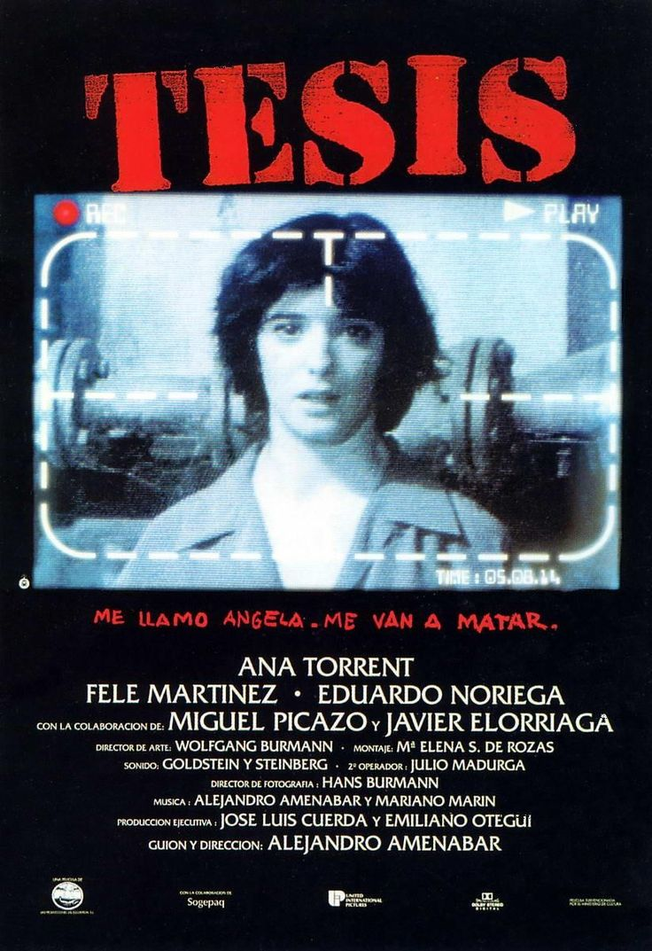 """Tesis"" (1996) - a Spanish film, the feature debut of director Alejandro Amenábar. Written by Amenábar and Mateo Gil."