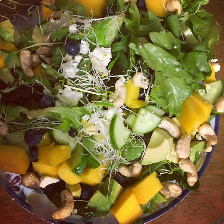Rocket with Mango, Blueberries with Goats Cheese Salad