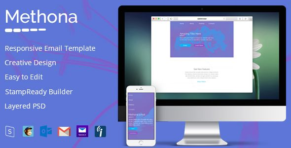 Methona - Creative Email Template + StampReady Builder