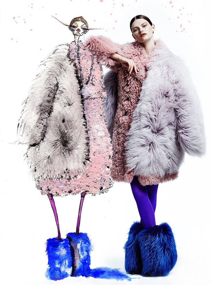 Kelly Mittendorf, styled by Zeina Esmail, models fur coats as she's joined by her alter-ego illustrated by Jamie Lee Reardin.