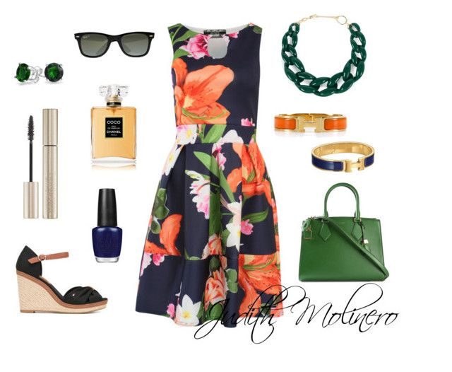 """Navy floral dress"" by judith-molinero-fashion on Polyvore featuring Pilot, Tommy Hilfiger, Hermès, Michael Kors, Ray-Ban, DIANA BROUSSARD, Giorgio Armani, Bling Jewelry, Chanel and OPI"
