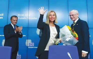 Donald Tusk, Herman Van Rompuy, Federica Mogherini during EU summit in Brussels on Saturday