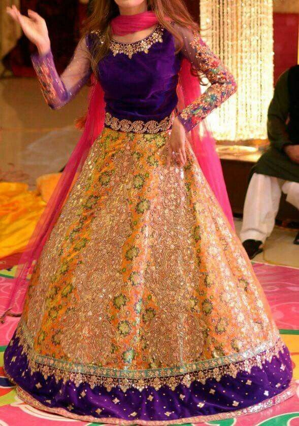 Zohra by Zovia-Pakistani Designer Orange lehenga with purple cholli and pink dupatta-1