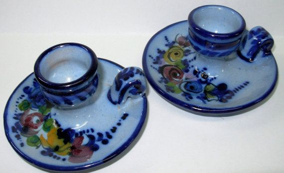 Portugal Pottery Hand Painted   Chamberstick Cobalt Blue Floral Art Candle Holders Chamberstick Pair 2