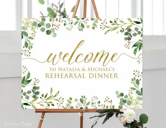 Baby Shower Rehearsal Dinner Welcome Sign Bridal Shower Large Custom Poster Foam Board Personalized Green Leaf Ceremony Welcome Board Customized Greenery Vertical Wedding Welcome Sign