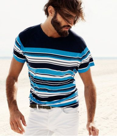 White shorts + Striped tee